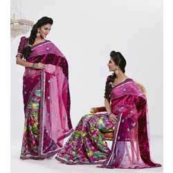Multi Color Brasso And Net Saree