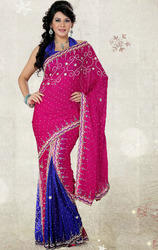 Rani+Pink+%26+Royal+Blue+Color+Satin+Chiffon+Saree+with+Blouse