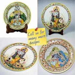 Krishna Miniature Painting on Marble Plate