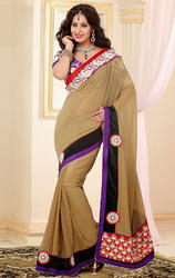 Brown+Color+Faux+Georgette+and+Jacquard+Saree+with+Blouse