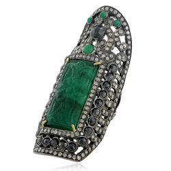 Emerald Gemstone Carved Ring Jewelry