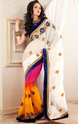 Deep+Pink+Off+White%2C+Orange+Faux+Georgette+and+Satin+Saree