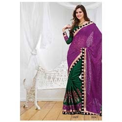 Deep Green & Purple Brasso Saree