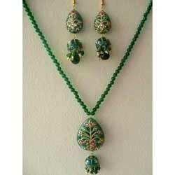 gold leaf work pendant set