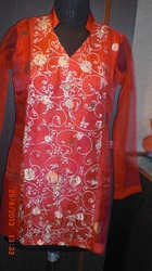Hot Red Embroidered Kurti