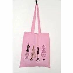 Printed Pinc Coloured Calico Bag