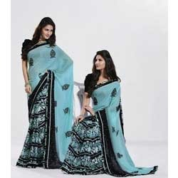 Sky Blue And Black Color Brasso And Chiffon Saree