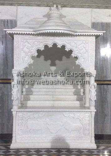 Marble mandir carved white marble pooja ghar for Home mandir designs marble