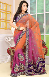 Pink+and+Orange+Color+Faux+Chiffon+Sarees+with+Blouse