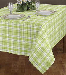 Green Checked Print Table Cloth