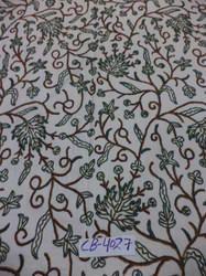 Cotton Dosuti  Hand Embroidered Chinar Design Crewel Fabric