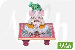 Vaah Decorative Marble Chowki Ganesh Idol