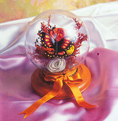 Flower Arrangement In Glass Bowl