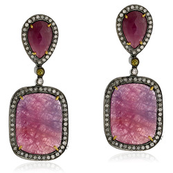 Designer Multi Sapphire Gemstones Earrings