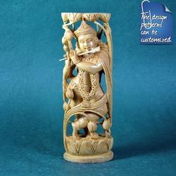Pose of Krishna - Single Piece Wooden Carving Statue