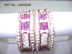 Hyderabadi Bangle With Pink And Silver Stones