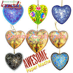 Paper Mache Hanging Hearts - Christmas Hangings