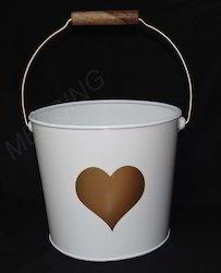 Metal Bucket with Heart Design