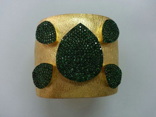 Gemstone Studded Gold Plated Silver 925 Cuff