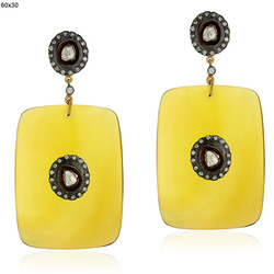 Pave Diamond Yellow Agate Gemstone Earrings