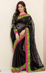 Black+Color+Net+Saree+with+Blouse