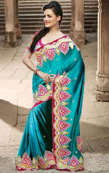 Teal+Blue+Color+Art+Silk+Saree+With+Blouse