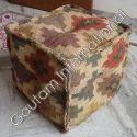 Brown Wool Pouf