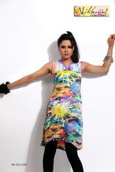 Charming Multicolor Printed Kurti Tunic Top