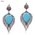 Turquoise Diamond Feather Earrings