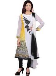 designer long printed embroidered kurta