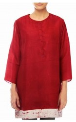 Red Kurta With Round Neck And White Border