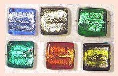 Rectangular Silver Foil Beads SGFB-05