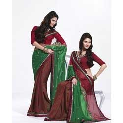 Red And Green Color Brasso Saree