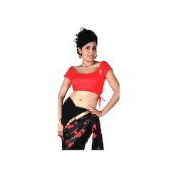 Red Cap Sleeves Viscose Saree Blouse