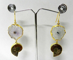 Solar Blue Druzy & Ammonite Silver Gold Plated Earring