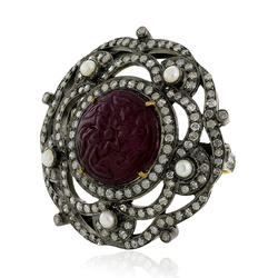Pave Diamond Carved Ring Pearl
