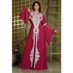 Magenta Embroidered Abayas