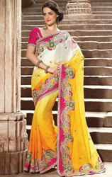 Gold+Mustard+%26+Off+White+Color+Art+Silk+Jacquard+saree