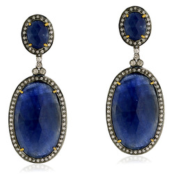 Blue Sapphire Pave Diamond Dangle Earrings