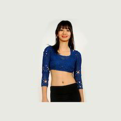 Blue Crochet Blouse with Lining