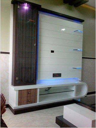 LCD Wall Unit Design Bed Interior Design Service Provider From - Lcd wall design in bedroom