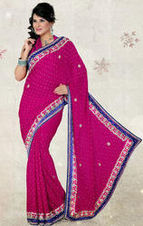 Rani+Pink+Color+Satin+Chiffon+Saree+with+Blouse