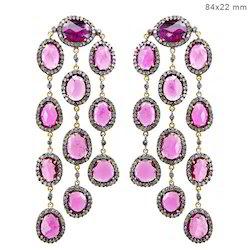 pink tourmaline chandelier earrings