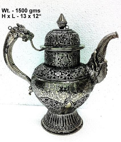 White Metal Surahi Jug Wine Decenter