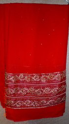 Red Chiffon Border Saree