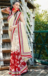 Cream+%26+Red+Net+%26+Faux+Georgette+Brasso+Saree+with+Blouse