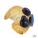 Labradorite Gemstone Sterling SIlver Cuff Bracelet Jewelry
