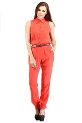 Sleeveless Orange Jumpsuit