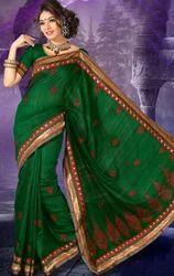 Dark+Green+Shade+Art+Silk+Saree+with+Blouse