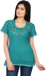 Teal+Color+Georgette+Tunic+With+Embellishments